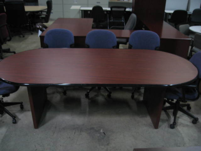 8Ft Wood Laminate Conference Table - click to see full size photo