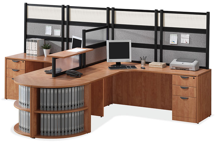 New office desks 2 person l desk workstation at furniture finders - Two person office desk ...