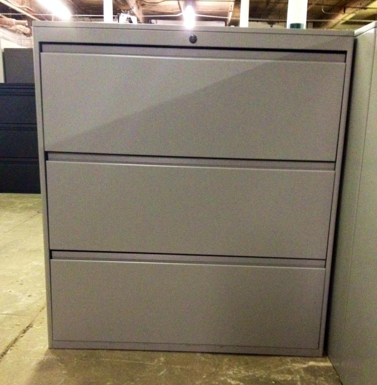 Used Office File Cabinets Trendway 3 Drawer Lateral At