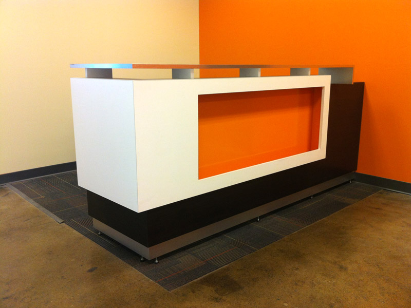 new office reception area custom back painted glass