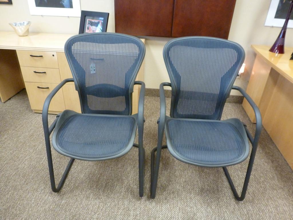 Used Office Chairs Herman Miller Cobalt Blue Aeron Side