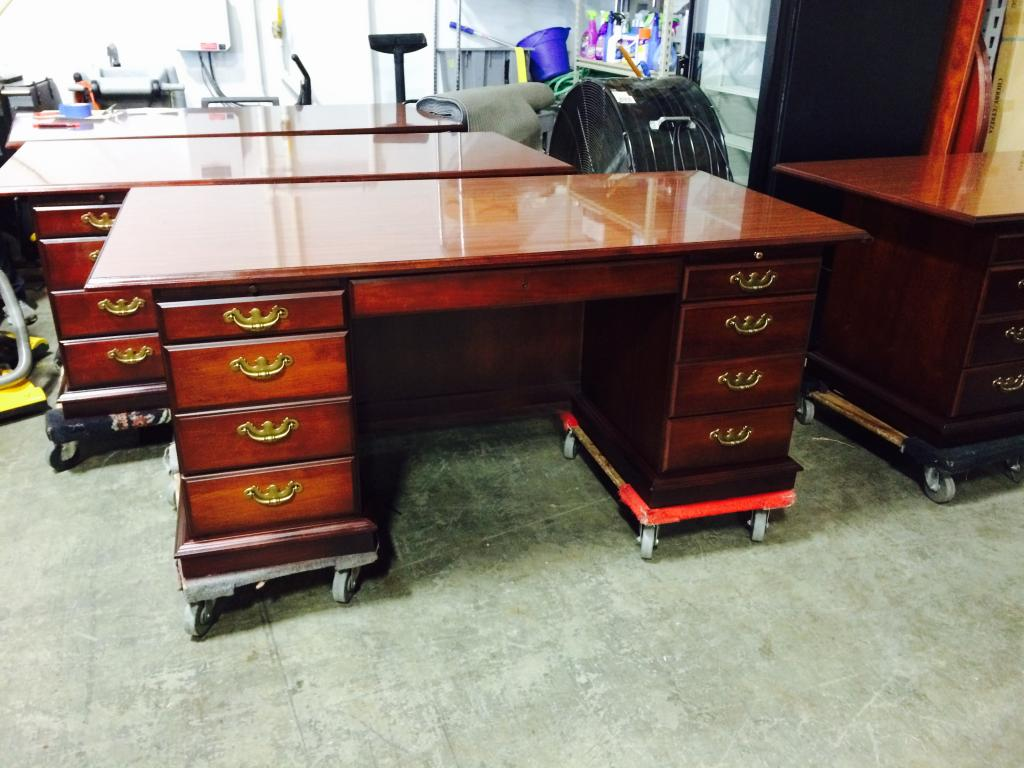 Used Office Desks 36 X 72 Double Pedestal Traditional Desk At Furniture Finders