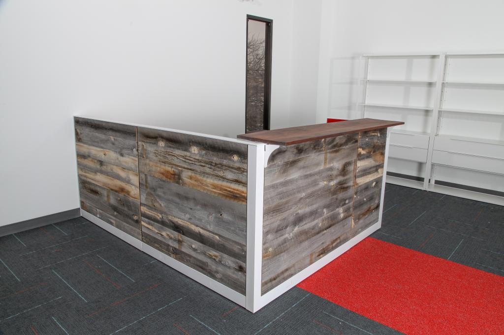 Used Office Reception Area Reclaimed Wood Reception Desk