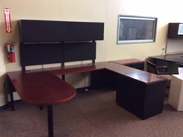 Used Office Desks Allsteel Cherry U Group Desk Sets At Furniture Finders
