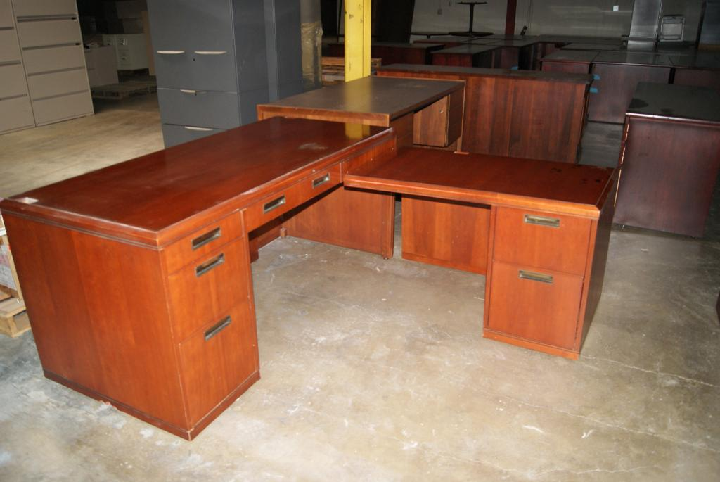 Used office desks kimball l shaped desk at furniture finders - Kimball office desk ...