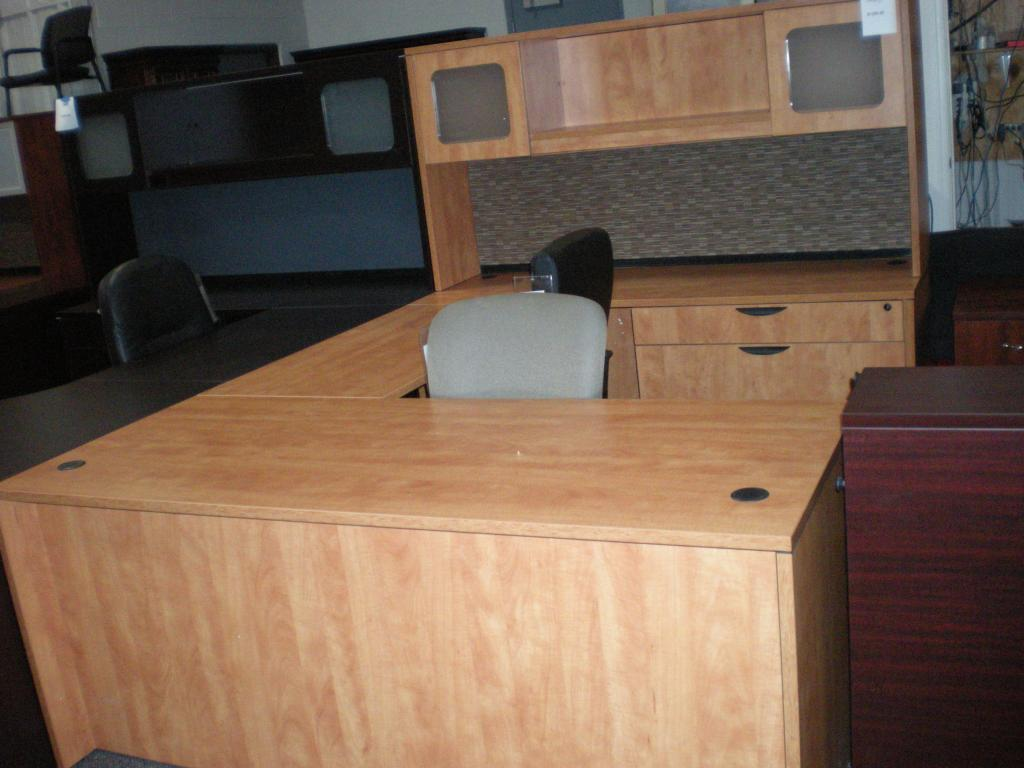 Used Office Desks Honey Laminate U Desk Closeout At