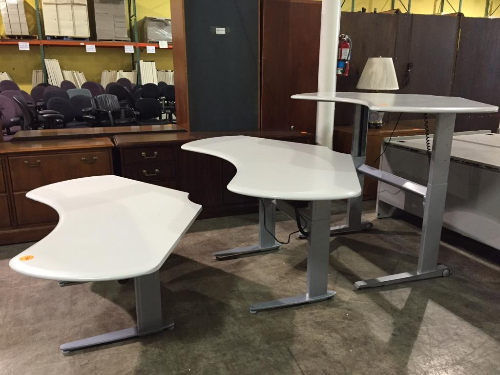 Used Office Desks Electric Height Adjustable Boomerang Desk At Furniture Finders