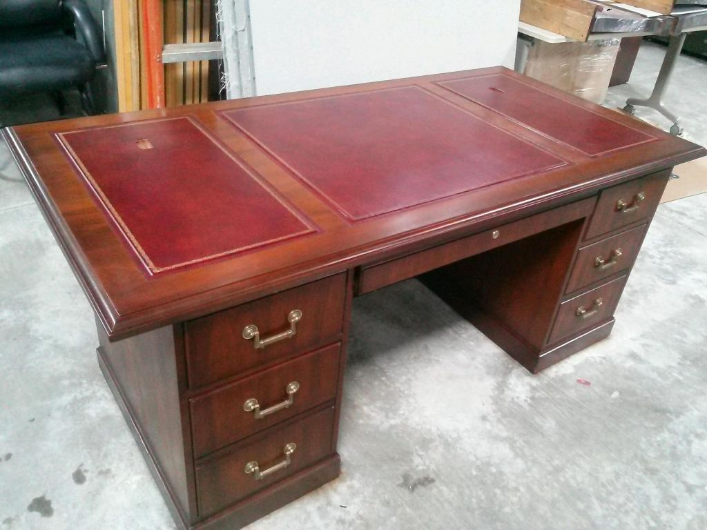 Used Office Desks Kimball Leather Top Traditional Desk