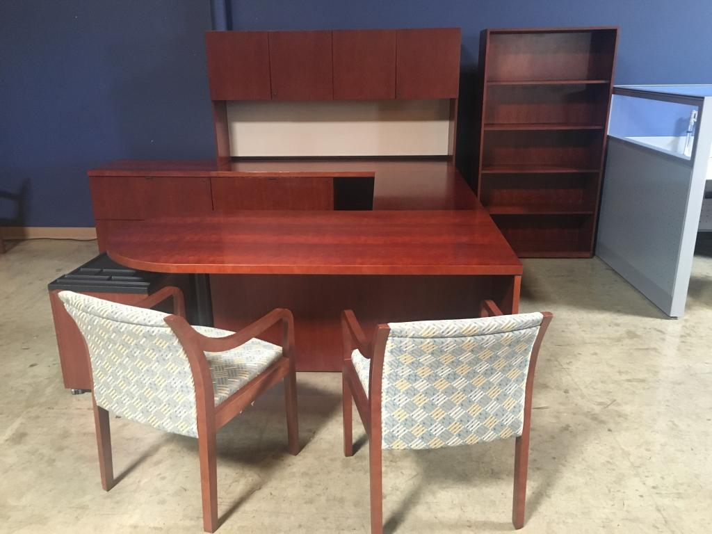 Used office desks kimball wood veneer private office sets at furniture finders - Kimball office desk ...