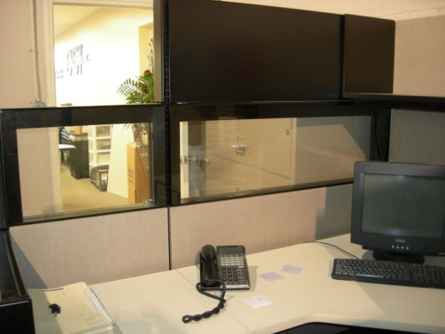 Herman Miller Ethospace Used Cubicles: Corner view showing glass, fabric, and metal panels and step down feature - click to see full size photo