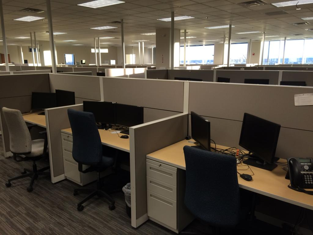 Used Office Cubicles Allsteel 3x5 Call Center Workstations At Furniture Fin
