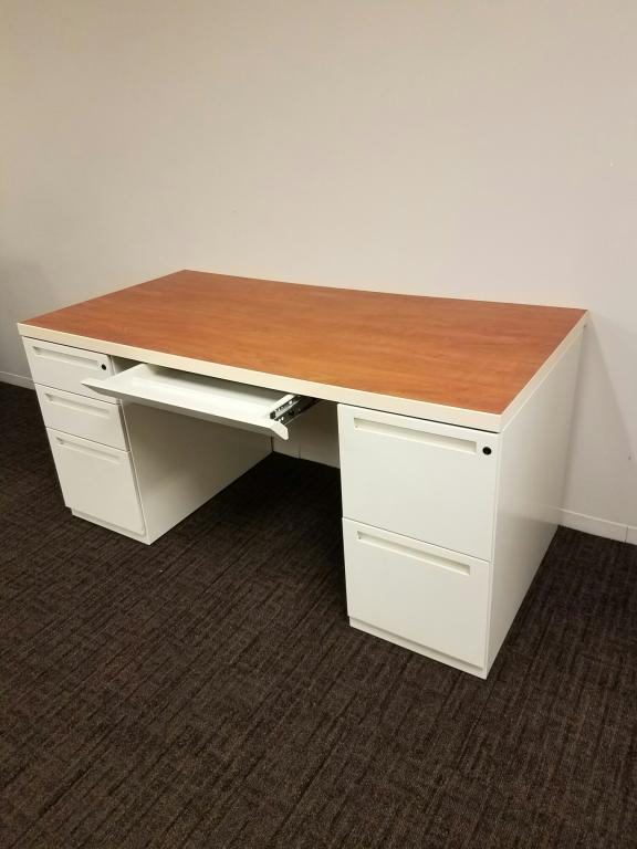 Used Office Desks Kimball 30x60 Light Cherry Laminate