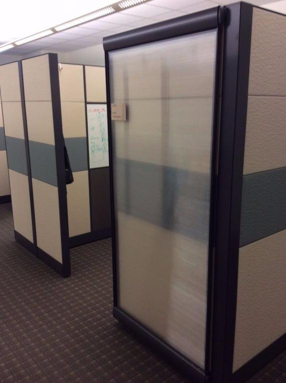 Used Office Cubicles : Teknion Leverage with Glass Sliding Doors at Furniture Finders
