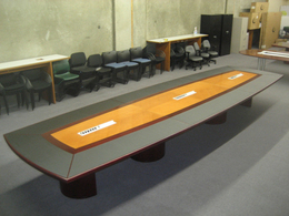 30' Wood Conference Table w/Leather