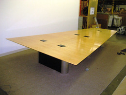 15' Wedge Shape Wood Conference Table