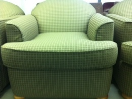 GREEN FABRIC EXTRA WIDE CLUB CHAIRS
