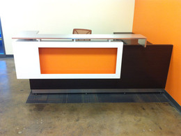 Custom Reception Stations -Back Painted Glass