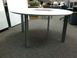 "HAWORTH 60"" round off white tables"