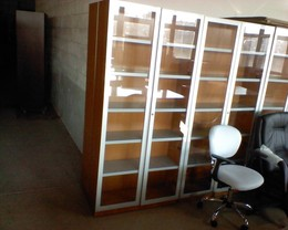 GLASS DOOR WOOD BOOKCASE