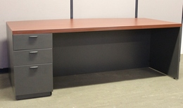 Large Bow Front Executive Desk and Credenza