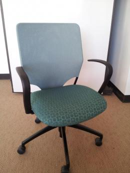 Harter Anthro Task chairs - green mesh back