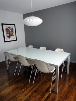 White Table with Painted Glass