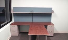 AIS Walnut T-Shape Office Suite