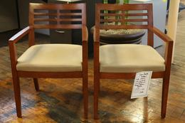 BERNHARDT DILLON CHERRY SIDE CHAIRS W/LEATHER