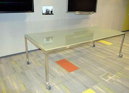 Custom Glass & Steel Mobile Conference Table