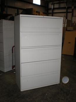 "Hon 795LQ 5 Drawer 42"" Lateral Light Gray"