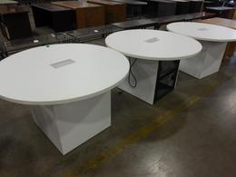 Round meeting tables with power