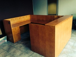 Wood veneer U-shape Reception Unit