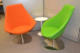 Designer Lounge Chair in green or orange