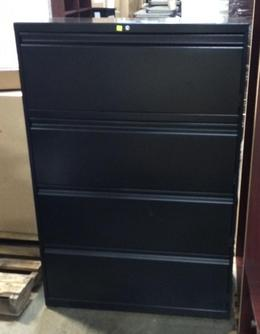 "4 Drawer 36"" Wide Blk Lateral File Allsteel"