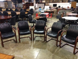 KIMBALL LEATHER SLED BASE CHAIRS