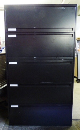 "SPACESAVER 5 DRAWER 36"" LATERAL FILE BLACK"