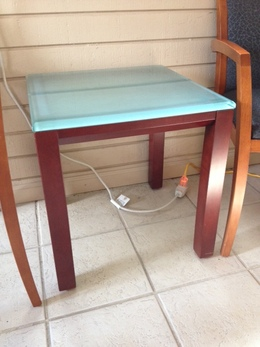 Glass End Table with Wood Frame
