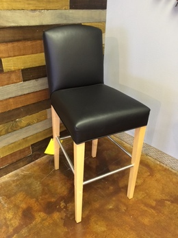 Black Leather Bar Stools w/maple frame