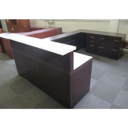 Beautiful Dark Wood & Frosted Reception Desk