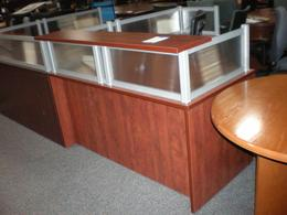 60 x 72 Single Pedestal Reception Desk Cherry
