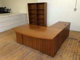 **USED** Tiger Wood Bow Front L Desk Suite