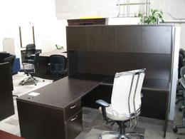 Espresso L shaped desk w/ hutch