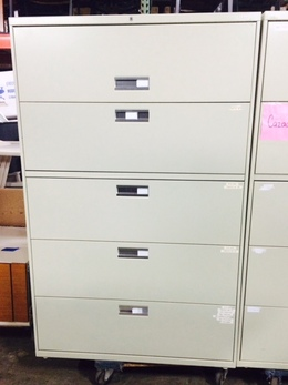 "Hon 795LL 5 Drawer 42"" Lateral File Putty"