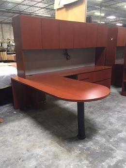 Knoll Reff Cherry D Top L Desk With Hutch