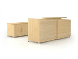 Groupe Lacasse Reception Desk & Credenza Mapl