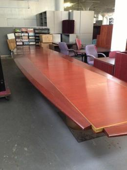 SOLID WOOD BOAT SHAPED CONF TABLE 24ftL