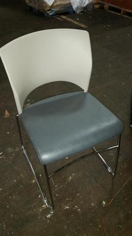 Teknion Leather Side Chair-Gray
