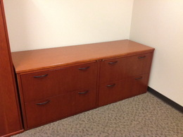 USED WOOD FILE CREDENZA