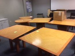 Custom Anigre Pattern Veneer Tables
