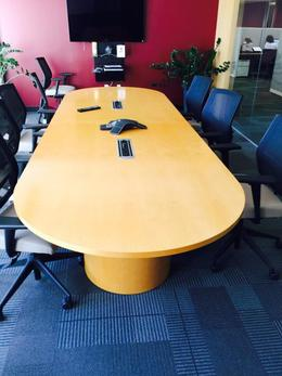 12' Racetrack Maple Veneer Conference Table